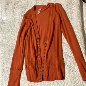 Orange Zenana Outfitters Snap Button Cardigan